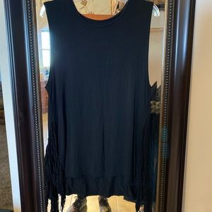Large Black American Eagle Tank Top with Tassels